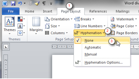 Turning off hyphenation in Word