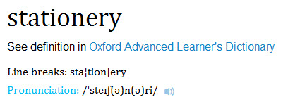The word stationery from Oxford Dictionaries